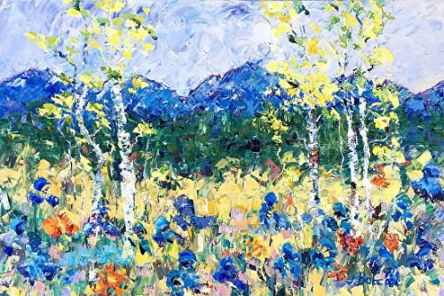 "Original Palette Knife Aspen Tree Landscape Painting ""Mountain Spring"" by Colorado Impressionist Judith Babcock"
