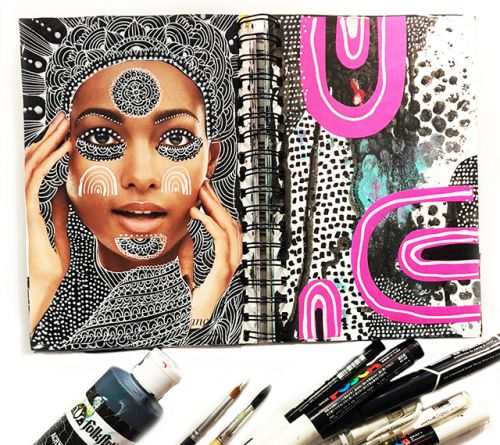A peek inside my art journal: altered magazine pages