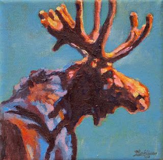 "Colorful Contemporary Wildlife Animal Art,Moose Painting ""Black Velvet"" by Contemporary Animal Artist Patricia A. Griffin"