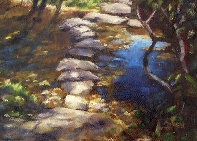 Stepping Stones, 5x7 Original Oil on Canvas Panel, Smoky Mountains Art