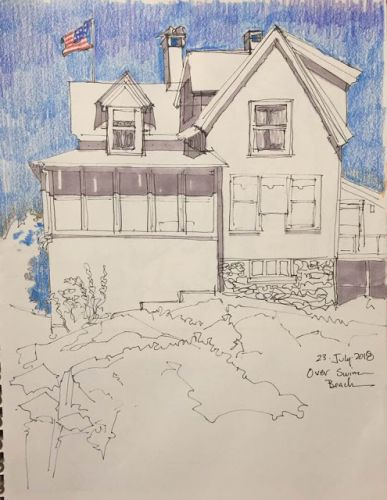 "Day 287 ""Village Sketches"" - walking and sketching on Monhegan"