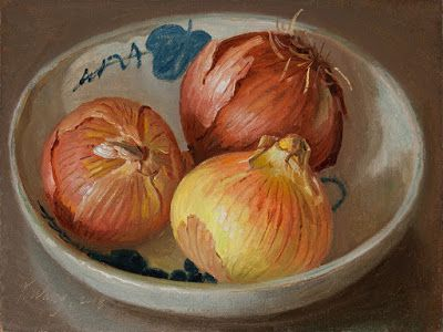 Onions in a bowl, still life oil painting original a painting a day