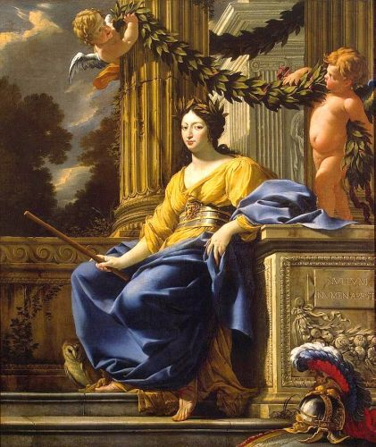 Allegorical Portrait of 16C-18C Gentlewomen as the Goddess Minerva of War, the Arts, & Wisdom