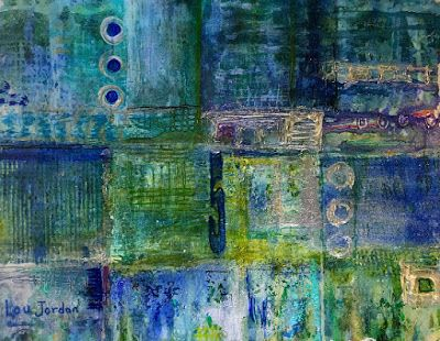 "Contemporary Abstract Painting, Mixed Media Art ""Taro Patch"" by New Orleans Artist Lou Jordan"