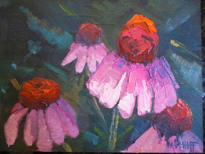 Small Flower Painting, Coneflower Painting, Echinacea Painting, Daily Painting, Small Oil Painting