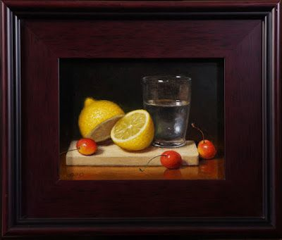 """"""" Lemon with Cherries and Water"""" oil on 6x8 linen panel"""