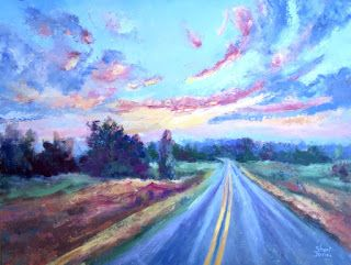 Colorful Road in Pecan Valley, New Contemporary Landscape Painting by Sheri Jones