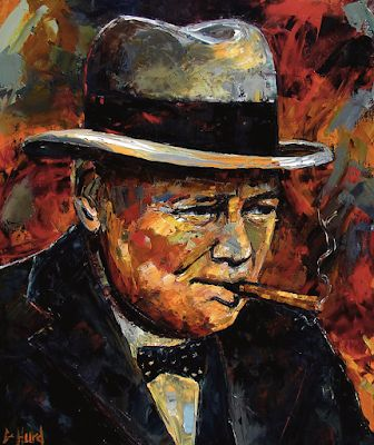 "Abstract Portrait, Palette Knife Painting ""Winston Churchill Portrait"" by Texas Artist Debra Hurd"