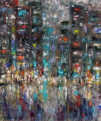 "Abstract Cityscape Art Street Scene Abstract Art ""Activity"" byTexas Artist Debra Hurd"