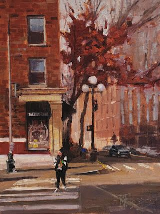 """First and Virginia"" Seattle City oil painting by Robin Weiss"