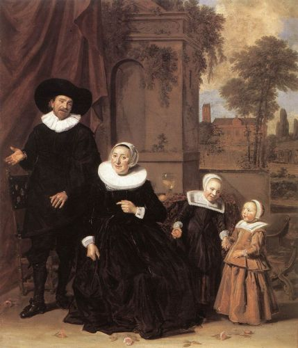 The 17C Family Portrayed on Garden Terrace Surrounded by Architecture & Roses at their Feet