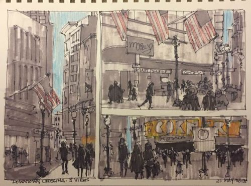 "Day 230 ""Downtown Crossing - Three Views"" ink, marker, pencil 9 x 12"
