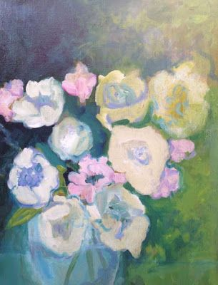 "Contemporary Abstract Still Life Art Painting ""PEONIES AND ROSES"" by Santa Fe Artist Annie O'Brien Gonzales"