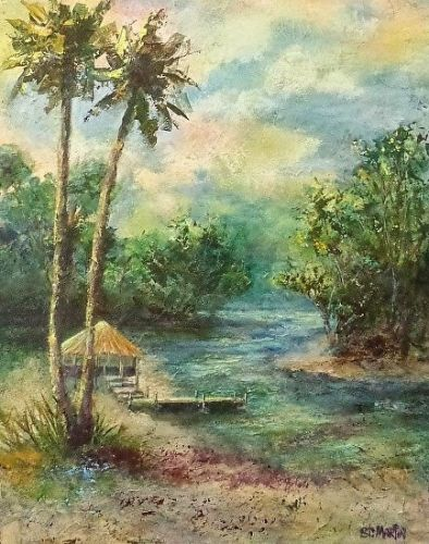"Impressionism Florida Landscape Painting ""Tiki Time"" by Florida Impressionism Artist Annie St Martin"