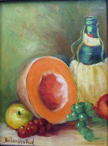 Late Night Snack,still life,cantaloupe,wine bottle,Barbara Haviland