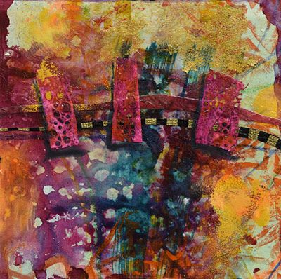 "Mixed Media Abstract Painting, Contemporary Art ""In the Land of Joy"" by Santa Fe Contemporary Artist Sandra Duran Wilson"