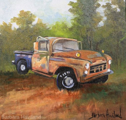 Old Truck,oils canvas,Transportation,Barbara Haviland-Texas Oil Artist