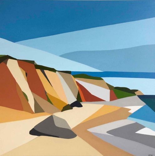 The Sandy Cliffs and Blue Skies of Martha's Vineyard Abstracted into Paintings by Rachael Cassiani
