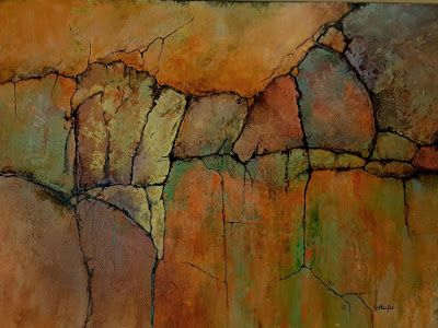 "Mixed Media Geologic Abstract, ""Ancient Mysteries II"" © Carol Nelson Fine Art"