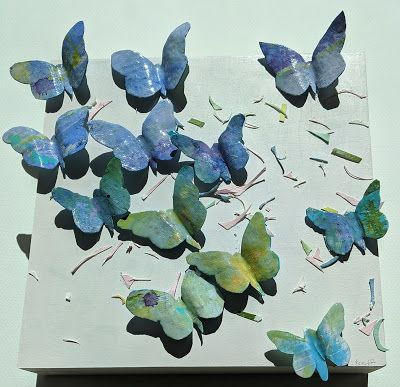 "Butterfly Paper, Resin Sculpture, Collage, Painting, ""BUTTERFLY PARTY"