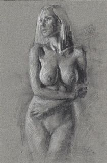 Blonde female nude standing charcoal drawing