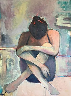 "Contemporary Female Figurative Oil Painting, ""IN REPOSE"" by Oklahoma Artist Nancy Junkin"