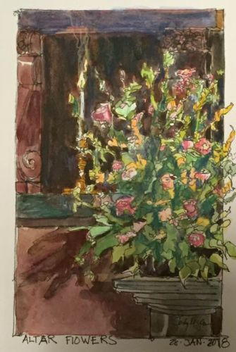 """Day 118 """"Altar Flowers"""" mixed 9 x 6"""