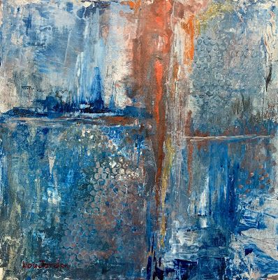 "Abstract Painting, Expressionist Art, Contemporary Art ""Ice Age I"" by Virginia Contemporary Artist Lou Jordan"