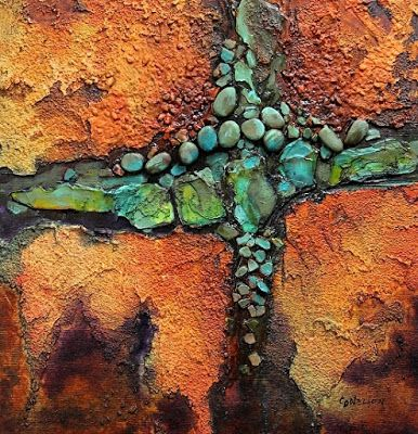 "Geologic Abstract Art PRINT ""Navajo Trail 2"" by Colorado Mixed Media Abstract Artist Carol Nelson"