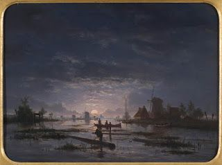 Jacob Abels, An Extensive River Scene with Fishermen at Night