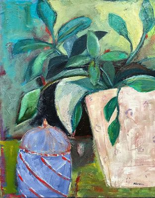"Contemporary Expressionist Still Life Fine Art Painting ""SUNDAY MORNING"" by Oklahoma Artist Nancy Junkin"