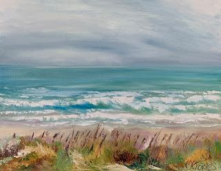 """Grey Skies Turquoise Waters,"" by Melissa A. Torres, 11x14 oil on canvas panel"