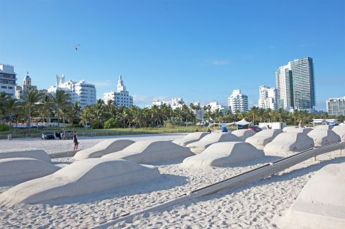 A Traffic Jam of Sand Cars by Leandro Erlich is Blocking Miami Beach