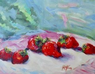"Impressionist Still Life Painting, Strawberries ""Strawberry Picking"" by Georgia Artist Pat Warren"