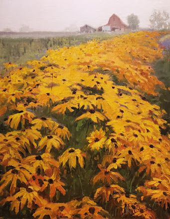 """""""Black Eyed Susans"""" Landscape painting by Robin Weiss"""