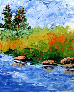 Mark Webster - Foothill River Abstract Palette Knife Acrylic Painting