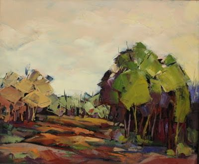 """Contemporary Impressionist Landscape Painting, Meadow, Trees, Fine Art Oil Painting,""""Meadow on the Mesa"""" by Colorado Contemporary Fine Artist Jody Ahrens"""