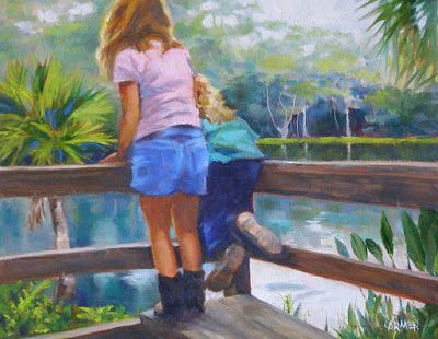 """Oil Painting, """"Little Hikers,"""" 8x10 Painting of Children at Silver Springs"""