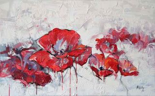 """New """"Running Red"""" Textured Poppy Painting by Niki Gulley"""