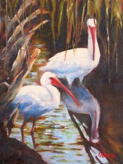 Ibis, 6x8 Oil on Canvas Panel, Wildlife Art, Daily Painting