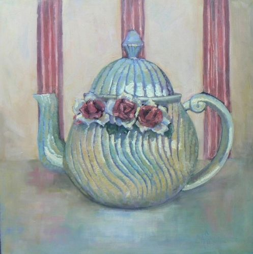 Teapot Still Life Painting, Home Wall Decor, Kitchen or Breakfast Nook Artwork, Daily Painting