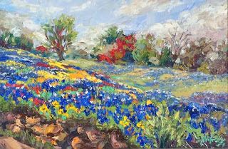 "New ""April's Palette II"" Bluebonnet Painting by Texas Artist Niki Gulley"