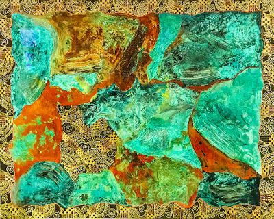 "Contemporary Abstract Acrylic Painting ""MAGNIFICENT METALS"" by Arizona Artist Pat Stacy"