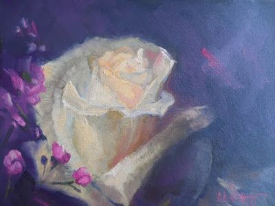 Birthday Flowers, Small Oil Painting, Daily Painting, White Rose Painting
