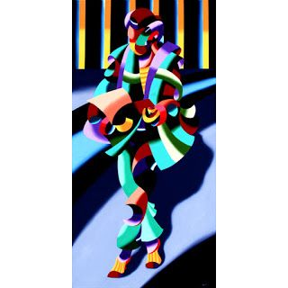 Mark Webster - Modern Woman in Tokyo - Abstract Geometric Figurative Oil Painting