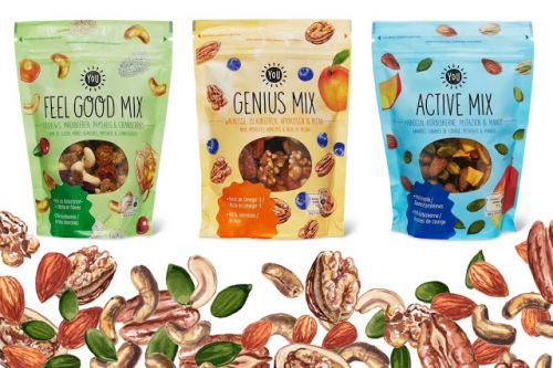 Watercolor Illustrations Of Nuts On Packaging Design