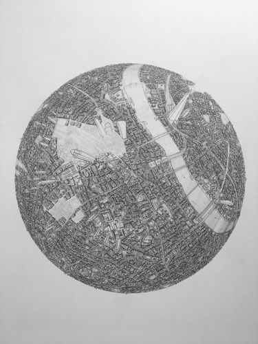 Detailed Globe Drawings of Cities Around the World by Amer Ismail
