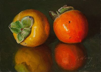 Persimmons small painting a day