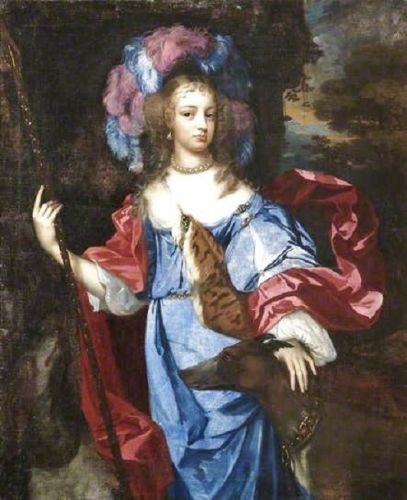 1680s Allegory of Diana Goddess of the Hunt with faithful Dogs