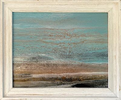 """Framed Seascape, Coastal Living Art Painting, Abstract Beach Art, Seascapes, Seascape Painting, Impressionist Seascape, Ocean Waves, Fine Art For Sale """"AT THE GULF"""" by International Contemporary Artist Kimberly Conrad"""